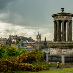 Standing on Calton Hill and watching the rain clouds over Edinburgh