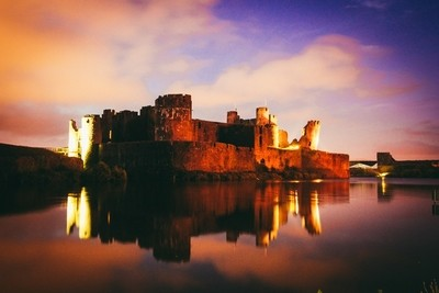 Caerphilly Castle By Night