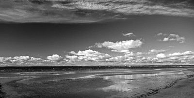 Gulf of Finland near Sestroretsk, Saint Petersburg. Black and white landscape.