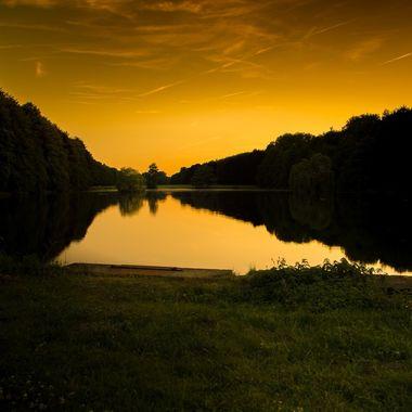 Tervuren lakes at sunset