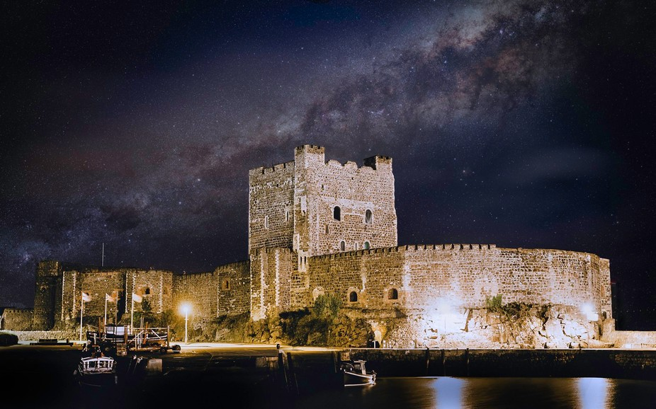 Composite image of Carrick castle and the Milky Way. Image of castle taken on Canon 100d with a 2...