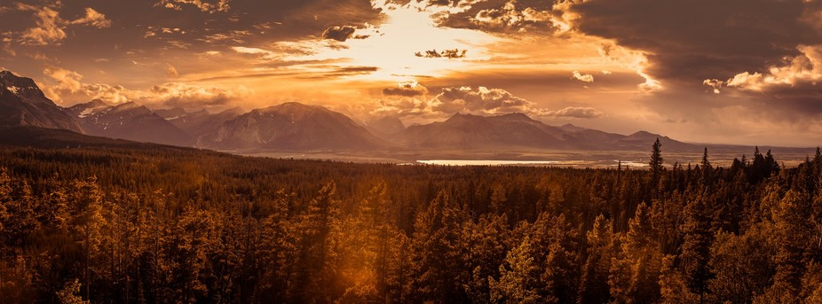 Overview of the Waterton National Park at Canada entrance from a sunset perspective. 8 shot verti...