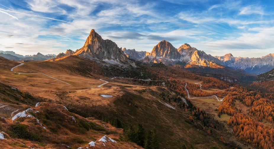 I was traveling all day around the Dolomites and finally settled above mountain pass Giau for the...