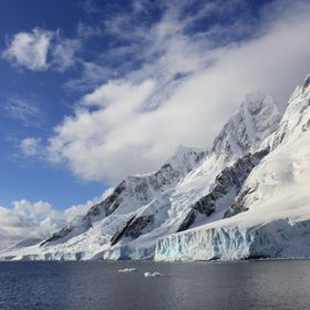 The view from the expedition ship MV Ushuaia in Iceberg Alley, Antarctica.