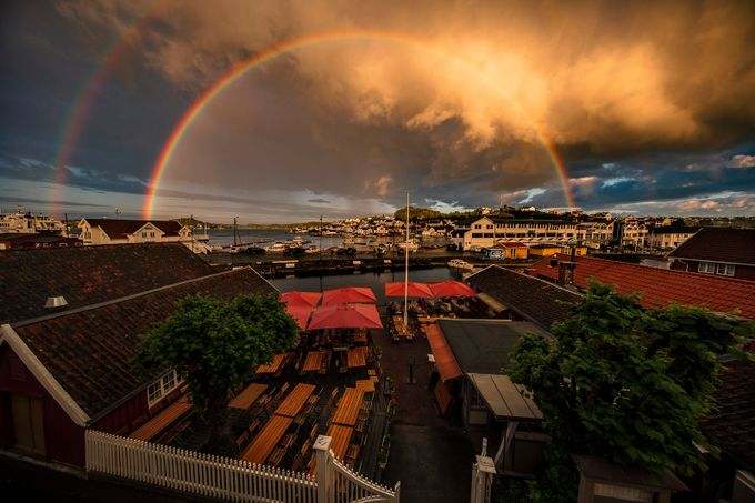 Rainbow in the sunset by paaluglefisklund - My Favorite City Photo Contest