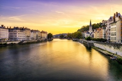 End of day on the Saône in Lyon ...