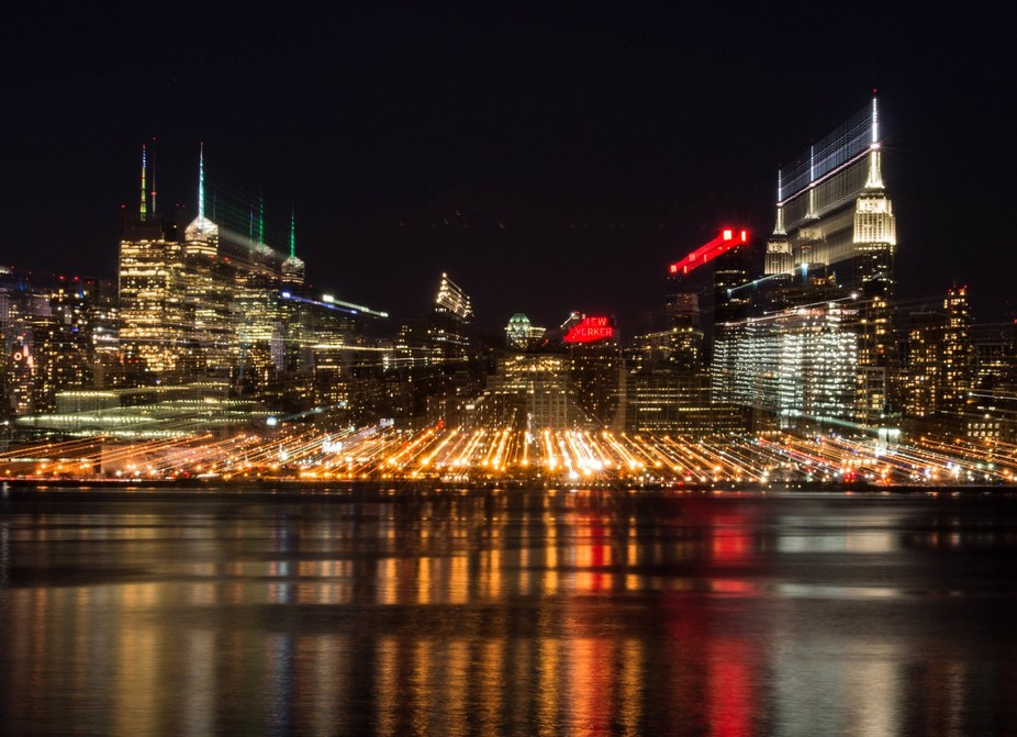 Manhattan night scene from New Jersey side (across the Hudson River).