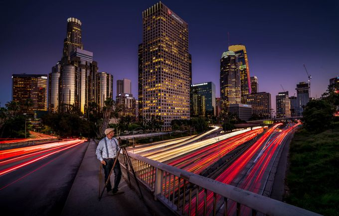 The Photographer Downtown LA by sergeramelli - City In The Night Photo Contest