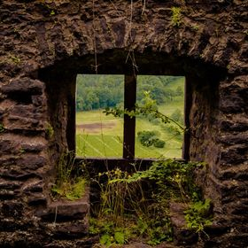 Old ruins of a window of a castle in a village near heidelberg