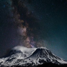 Mt Shasta fm North with Milky Way 20130210 and 20160703, Day 7 of Mt Shasta week,  #174 of 365   Composite