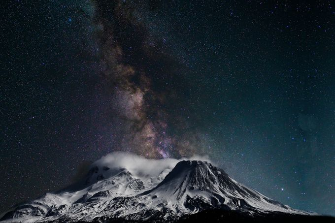 Mt Shasta fm North with Milky Way 20130210 and 20160703, Day 7 of Mt Shasta week,  #174 of 365   Composite  by gregedwards - The Milky Way Photo Contest