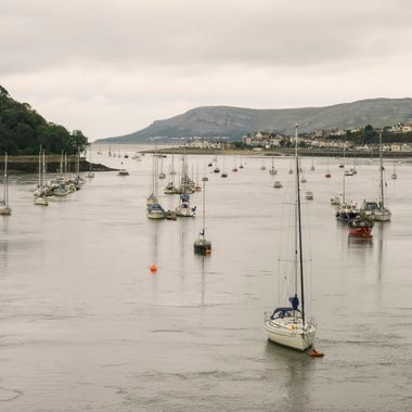 Yachts moored on the River Conwy.