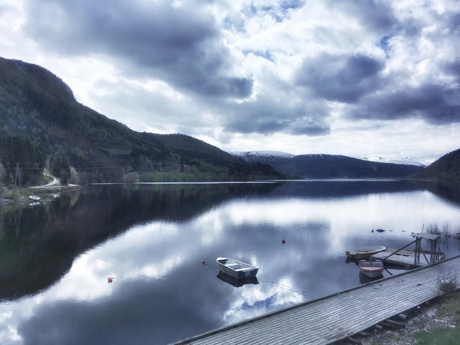 I managed to capture this shot from a moving coach in Norway, the symmetry of the land in the wat...
