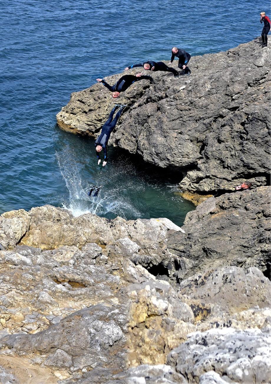 People Rock diving near Marsden bay South Shields