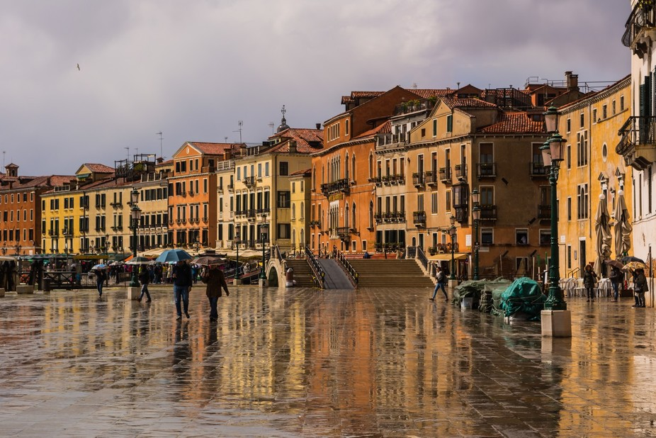 The embankment in Venice after a rain