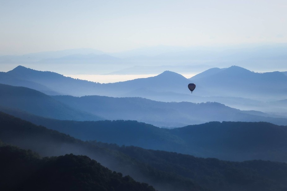 Our 5 year anniversary hot air balloon ride over the mountains in Asheville, NC.