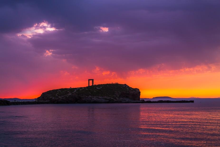 Apollos gate Naxos sunset