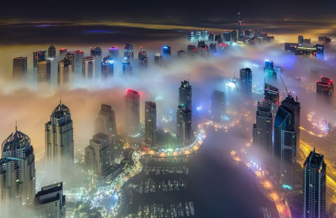 Foggy Nights in Dubai by zohaibanjum - City In The Night Photo Contest
