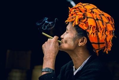 Smoking Paoh woman