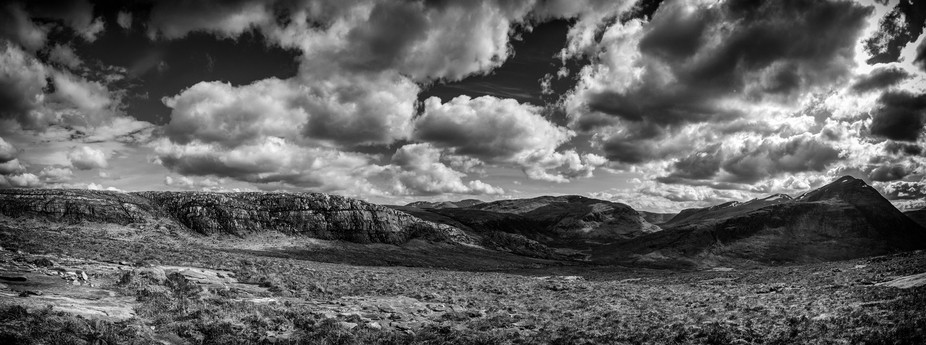 Dramatic panorama of Scottish highlands not far from the village of Dundonnell
