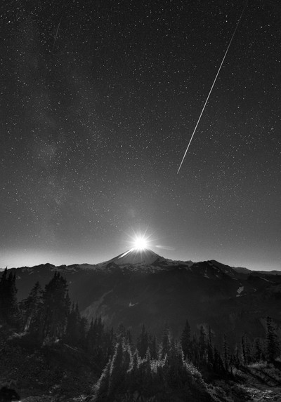 Moonset Over Mt Baker
