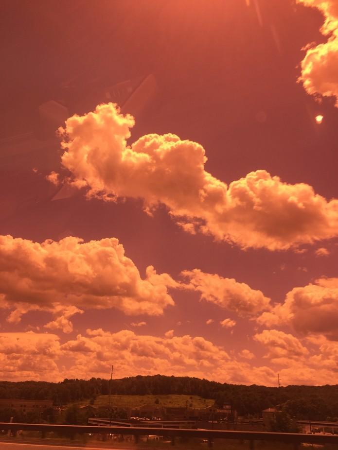 I took this shot from our car Otside of Buffalo, NY.  I aimed my I Phone camera through the lens ...