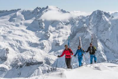 Ascending the south-west ridge of Piz Boe