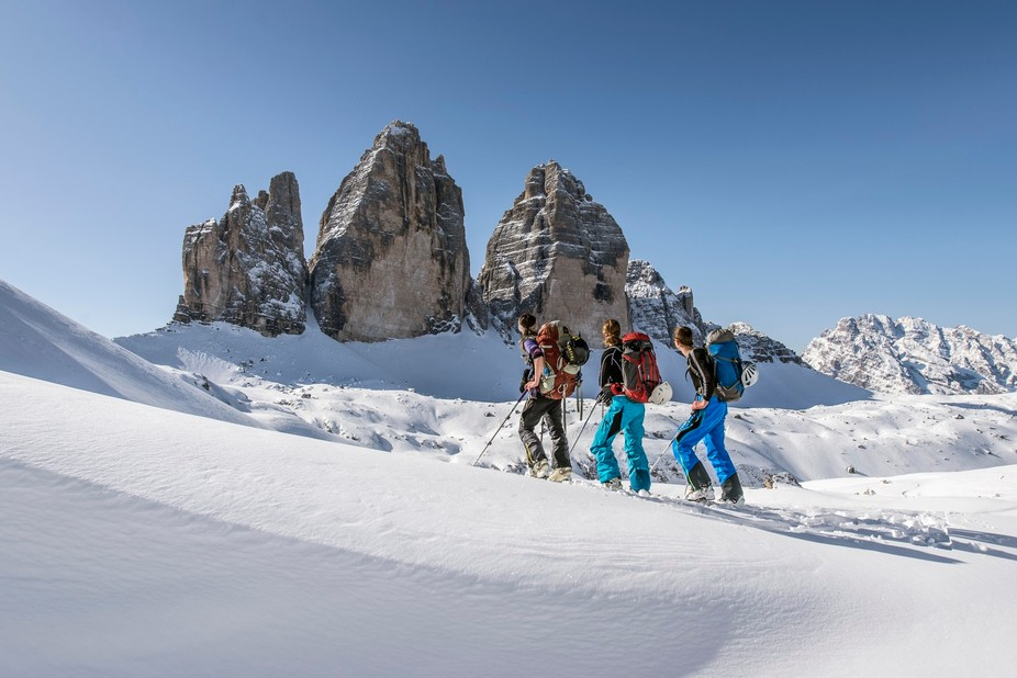 Taken on a superb winter ski tour around the Tre Cime in the Italian Dolomites. Despite been very busy in the summer the area is almost completely deserted in the winter allowing you to fully appreciate the spectacular scenery in solitude. The central tower, Cima Grande is one of the classic six alpine north faces and is highly coveted during the summer months.