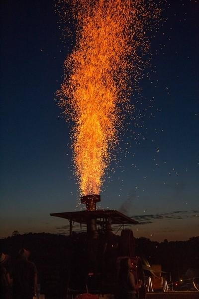 "Doughty Valley Steam Show 2016. Steam engine ""firework"" with sawdust."