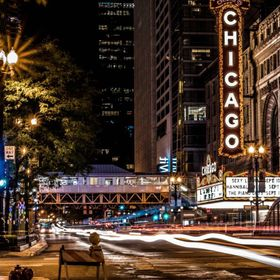 The Chicago Theatre at Night