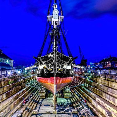 Old Ironside after complete restoration in dry dock waiting to be re launched at Boston Navy Yard.