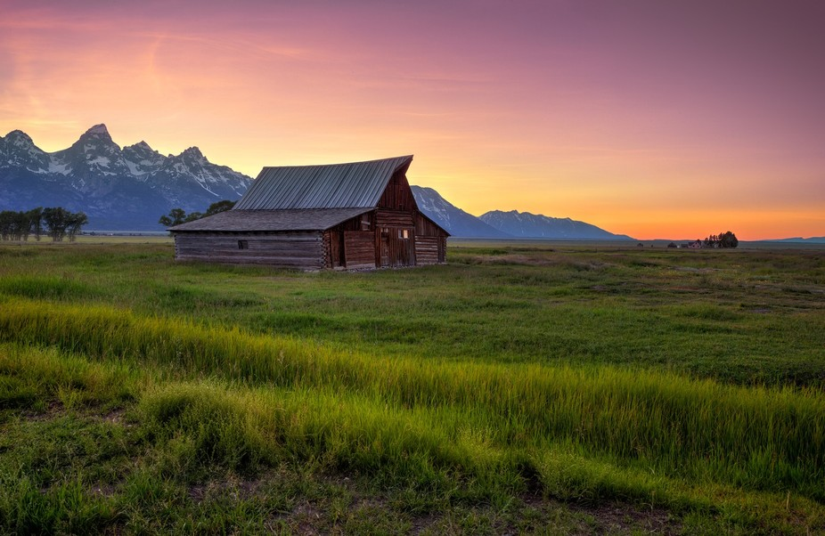 A barn on Mormon Row in Tetons at sunset this week (end of June)- had to dodge roaming bison- HDR