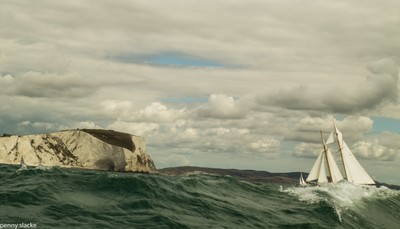 Classic Yachts racing around the Isle of Wight, England
