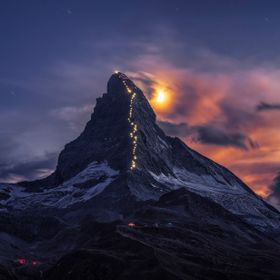 In 2015 Matterhorn was illuminated for the jubilee marking 150th anniversary of the first ascent of the mountain. 50 lamps along the Hörnligrat ...