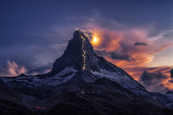 Matterhorn star trail by tiger_in_teapot - Our World At Night Photo Contest
