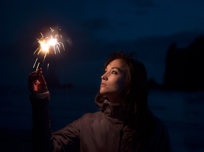Angelina at Cannan with sparklers