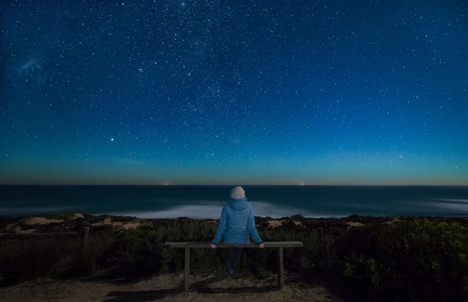 Waiting for the Aurora to spike over Bass Strait on one of the coldest nights so far this winter....