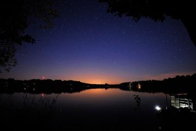 Star filled sky over Lake Victoria in Alexandria, Minnesota