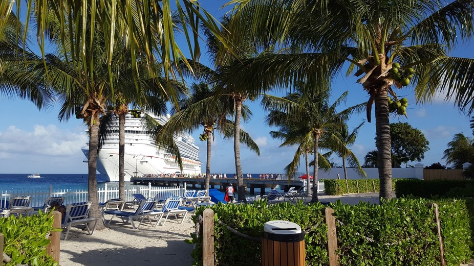 Carnival Vista at the port in Grand Turk. I took this photo from the beach, directly to the right...