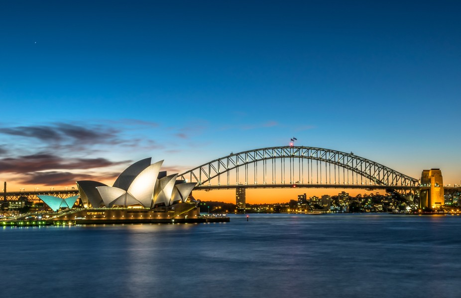 A view of the Sydney Opera House and the Sydney Harbour Bridge