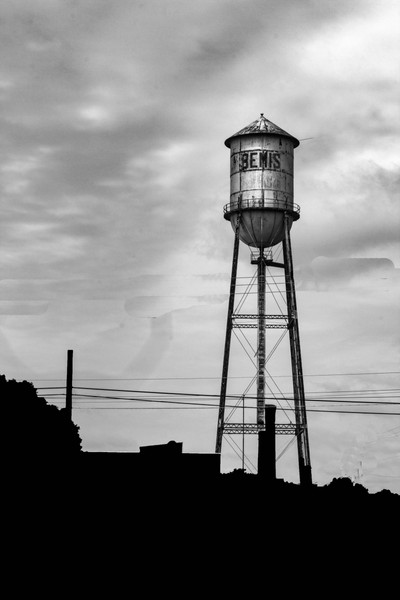 Bemis Water Tower black and white