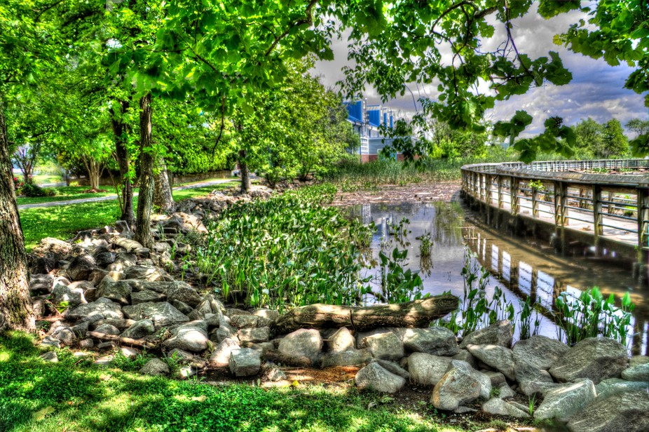 Pond located in Old Alexander near National Harbor in Oxon Hill Maryland.