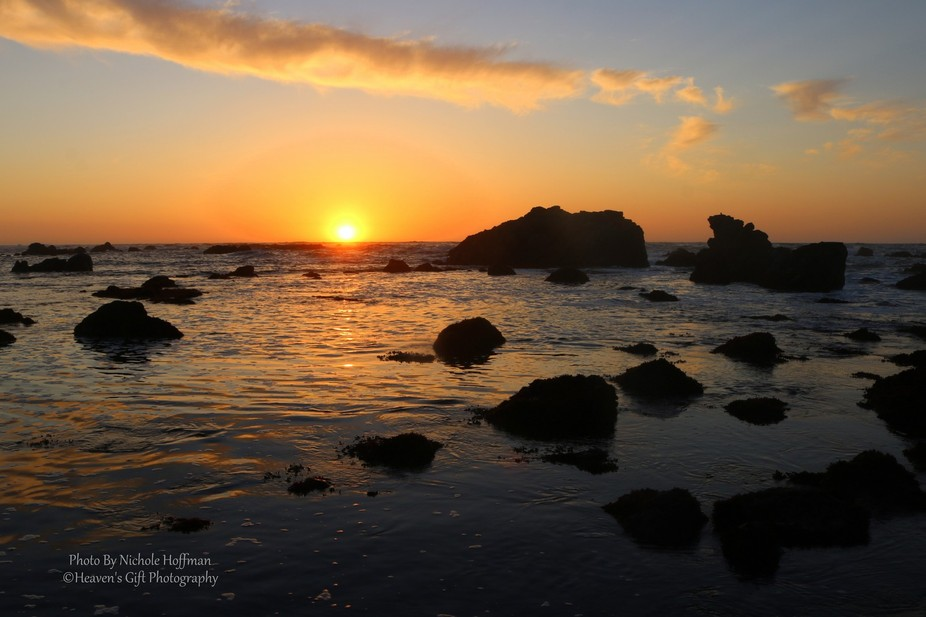 This was the view from Laguna Point outside of Fort Bragg, CA.  I loved how the single cloud stre...