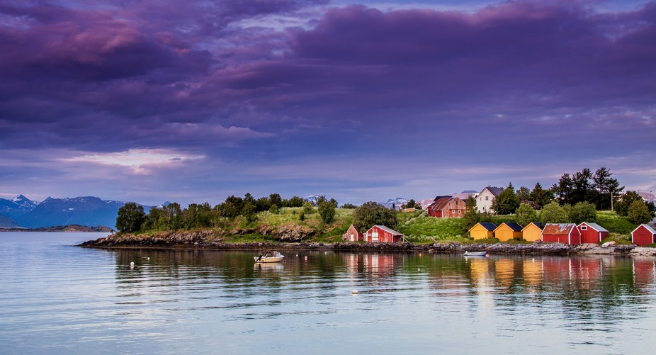 This is Osnes outiside Harstad Norway at midnight in July.