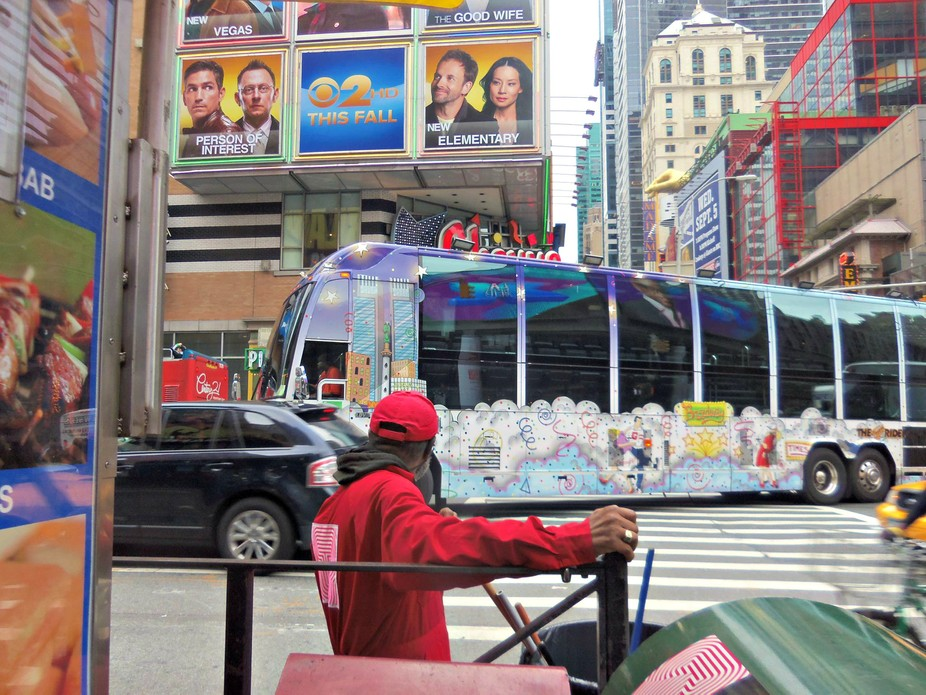 nyc times square with bus