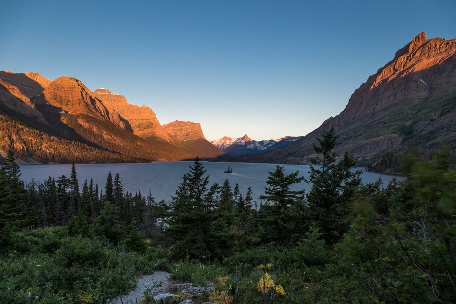 A windy sunrise at Goose Island in Glacier national Park.