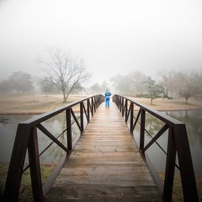 Bridge on a foggy day
