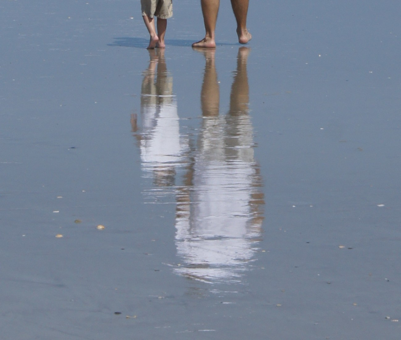 Grandpa and Grandson walking on the beach in Florida