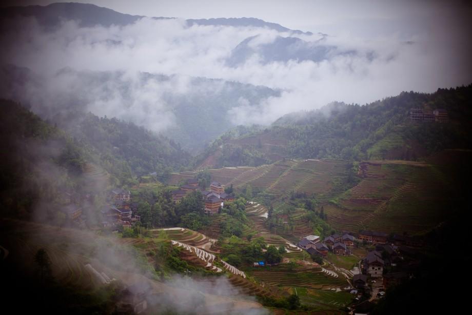 Beautiful rice terraces in Guilin, China.