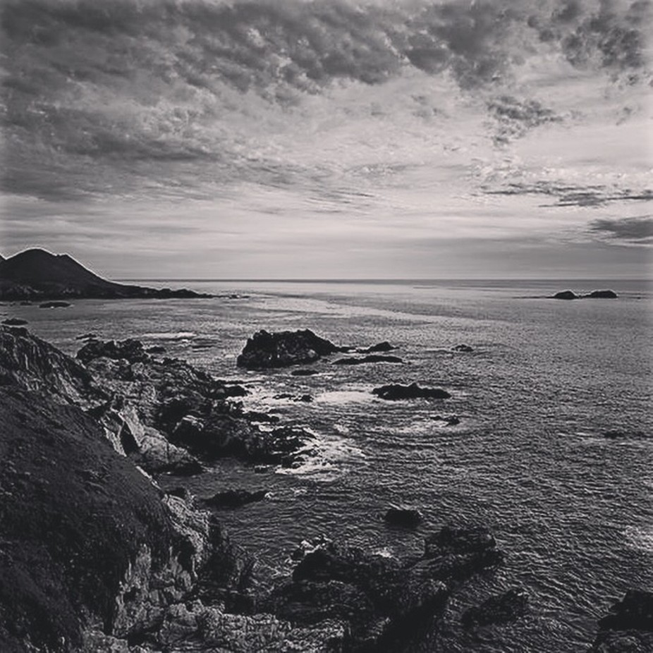 Black and white captured the trxtire of this big sur cosstsl image.